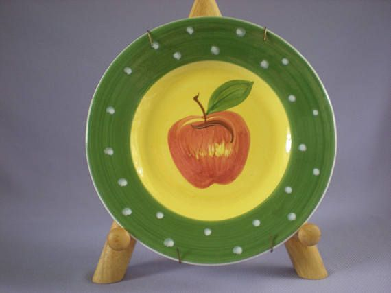 Green Apple Plate -Hand Painted Red Apple Decor-Yellow Wall ...