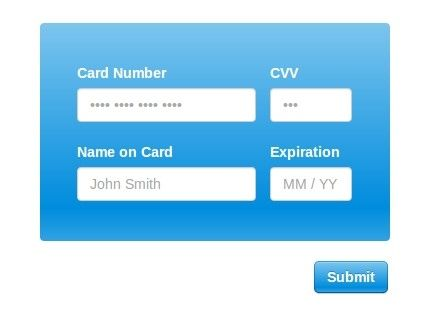 jQuery Plugin For Easy Credit Card Inputs - Creditly js