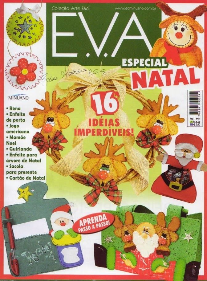 Função Do Aparador Na Sala ~ Artesanato com amor by Lu Guimar u00e3es Revista Arte Fácil n1 EVA Especial Natal EVA