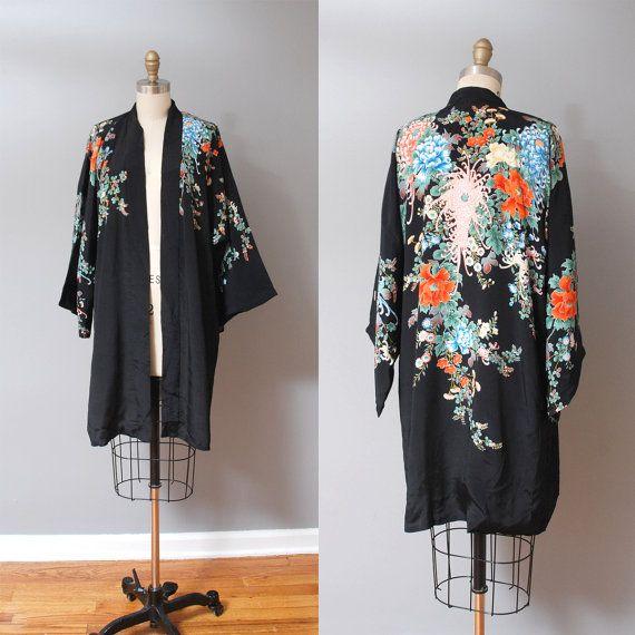 1960s Silk Kimono Jacket Black with by OldFaithfulVintage on Etsy ...