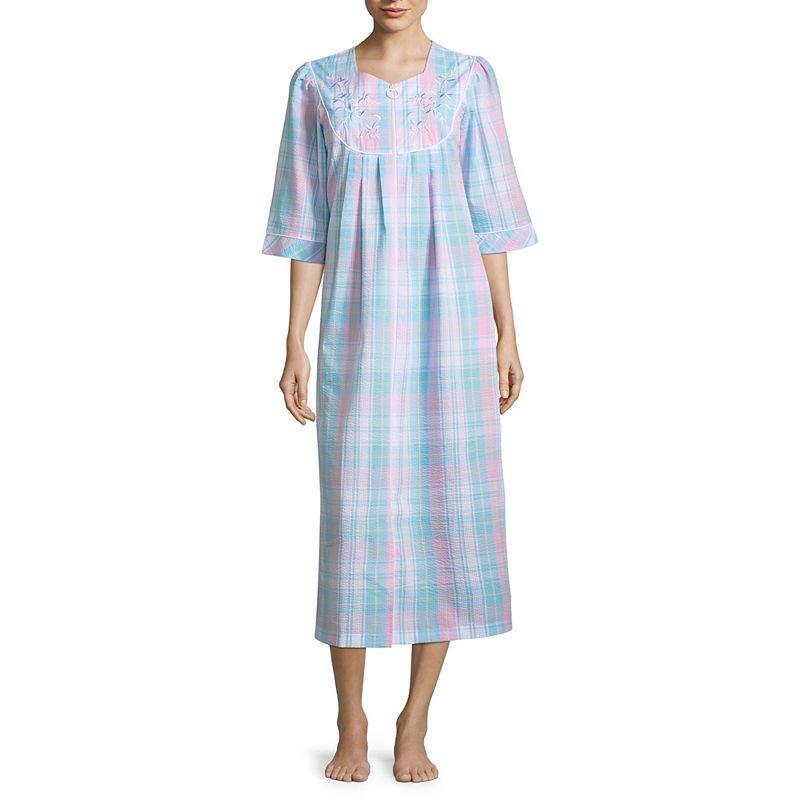 9daa0871f9e4c5 Collette by Miss Elaine 3/4 Sleeve Seersucker Caftan Pajamas Women, Sleepwear  Women,