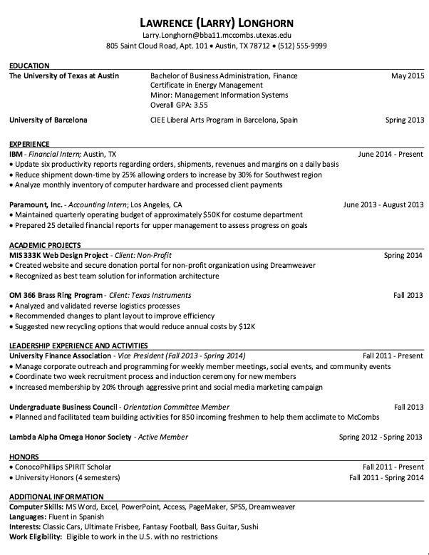 Sample Resume for MCCOMBS - http://resumesdesign.com/sample-resume ...