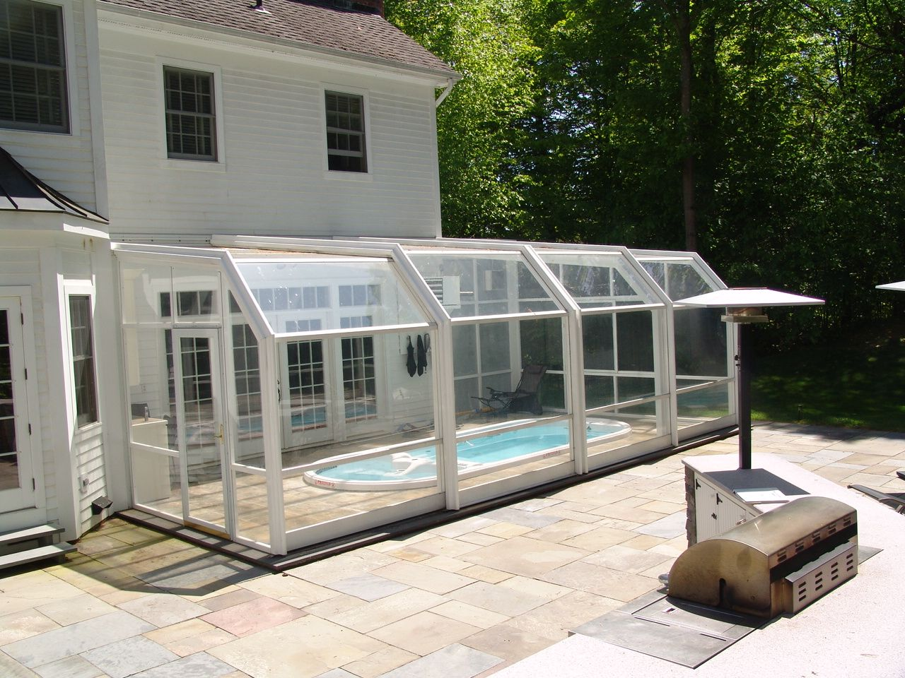 Swim spa enclosures retractable enclosures retractable for Inground pool enclosure prices