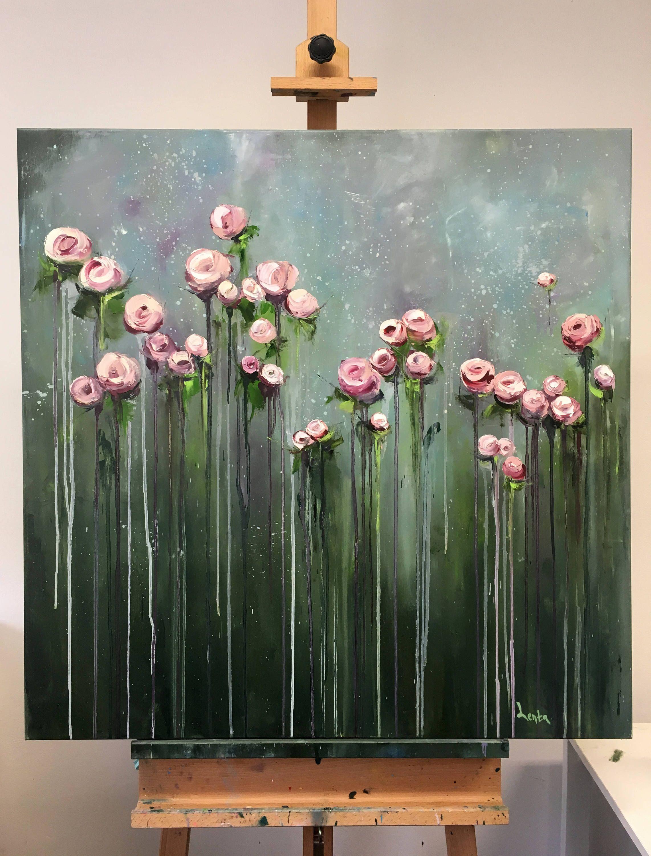 Big flowers art work original large oil painting handmade painting pittura a olio originale su tela titolo cremosi fiori dimensioni 90 mightylinksfo