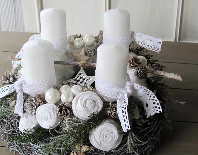 Adventskranz Stylish adventskranz white vintage dreams natal and lights