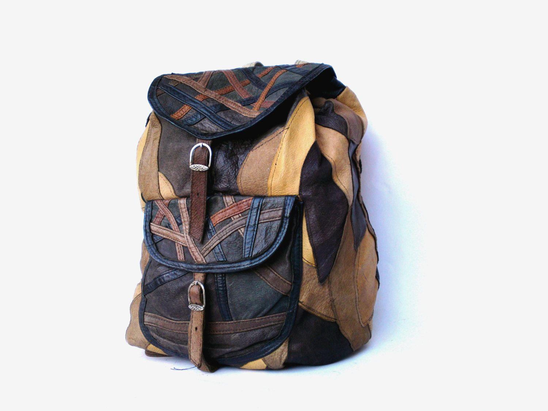 Brown genuine leather backpack shoulder bag by PetarsVintage, $68.20