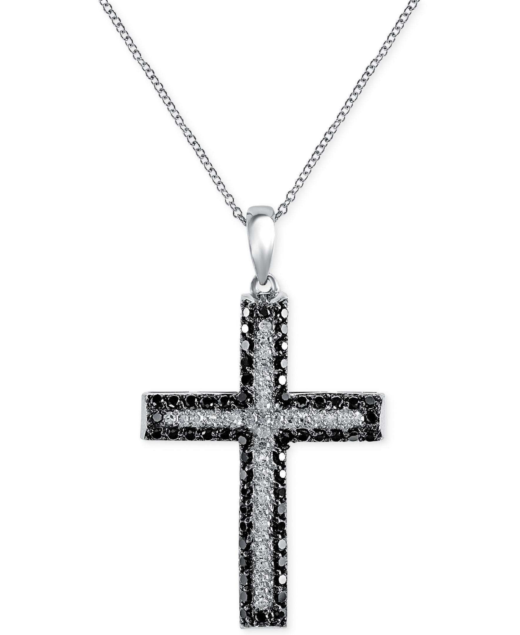 Effy Diamond Cross Pendant Necklace 5 8 ct t w in 14k White