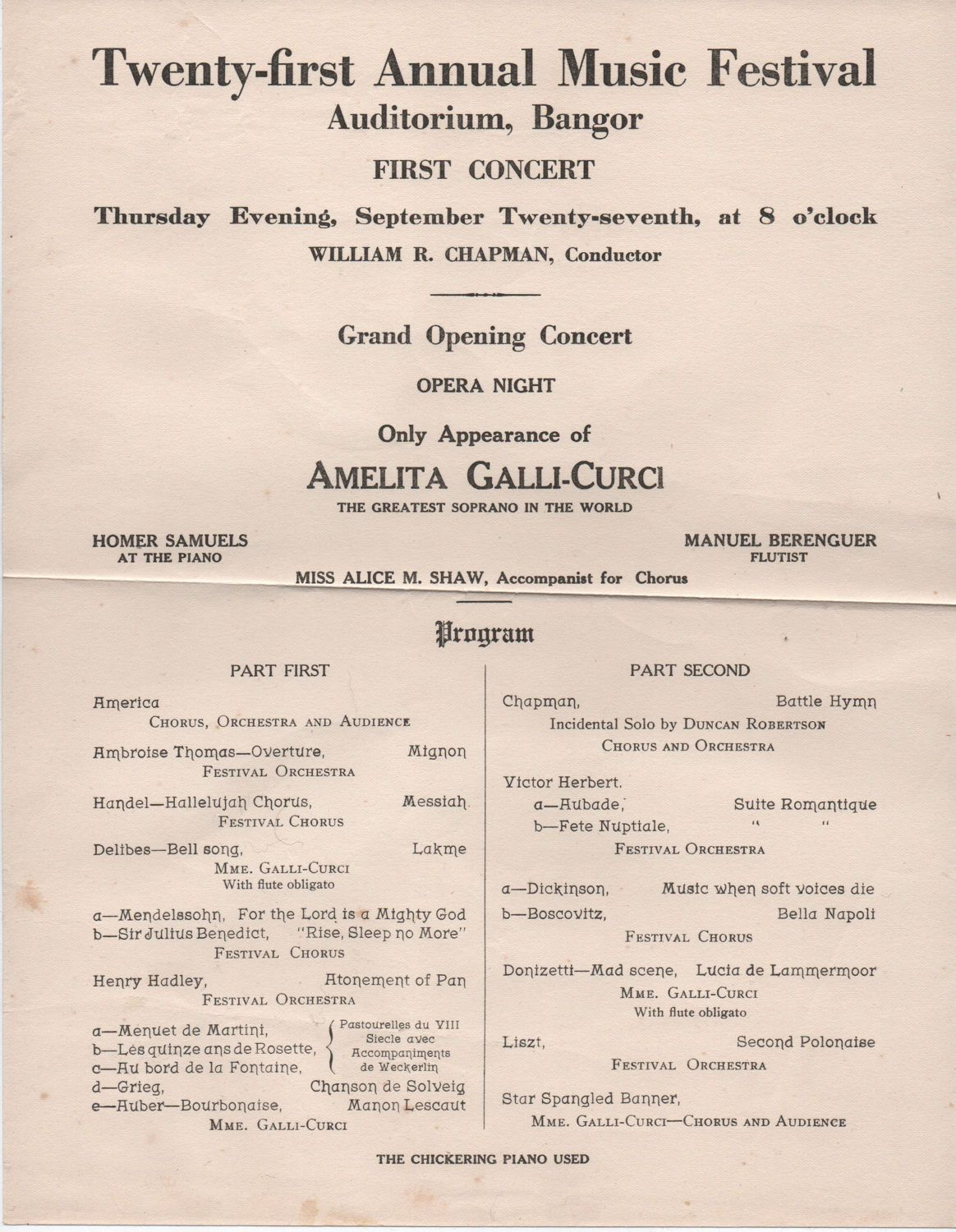 Amelita Galli  Curci Festival Program St Annual Maine Music