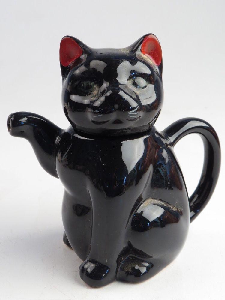 Vintage Black Cat Figurine Statue Porcelain Pottery Ceramic Teapot