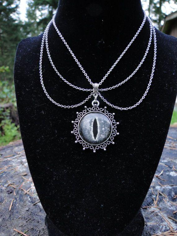 Glow In The Dark Dragon Eye Pendant Necklace Monochrome