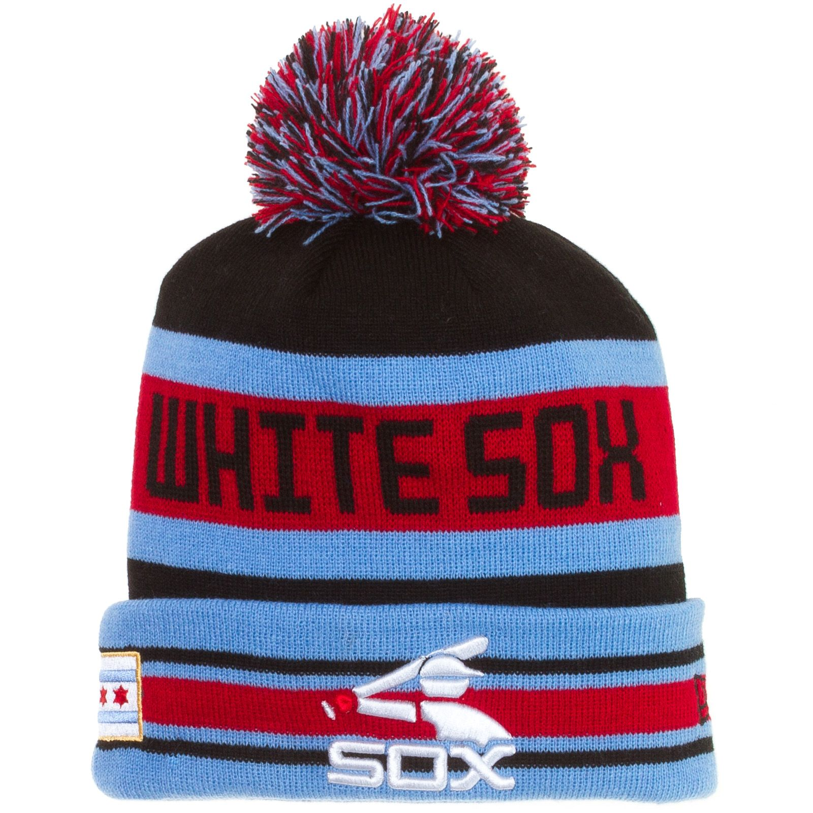 Chicago White Sox Black, Red, and Blue Double Logo Chicago Flag Cuffed Pom Knit Hat by New Era #Chicago #WhiteSox #ChicagoWhiteSox