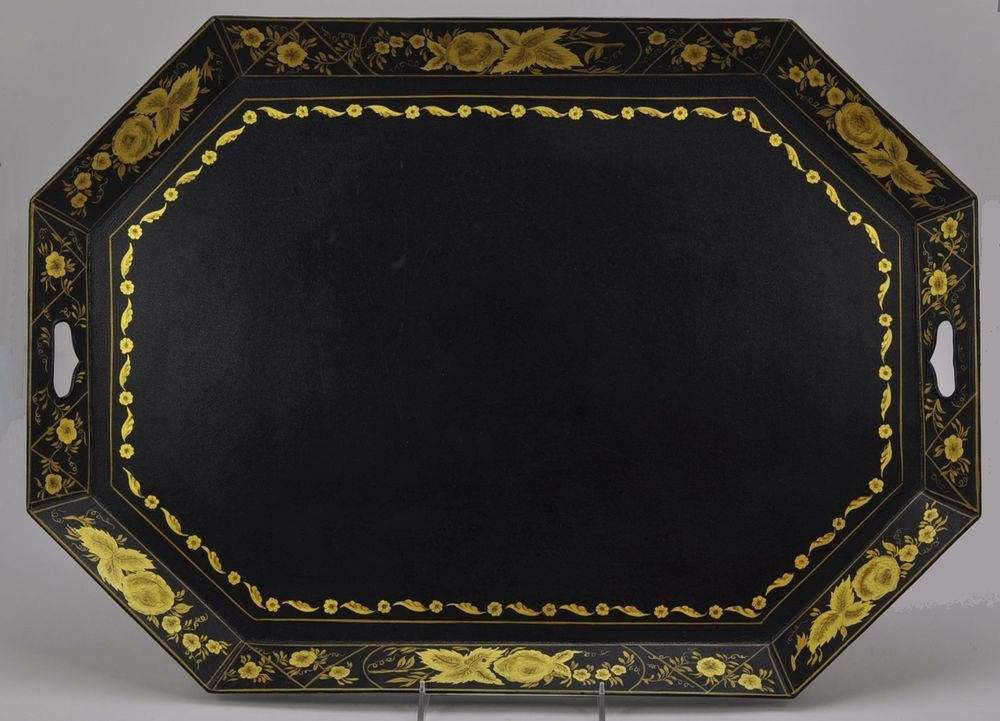 Large 26 Inch Vintage Hand Painted Black and Gold Tole Tray Signed 1954