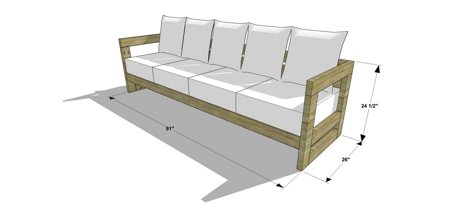 The design confidential diy furniture plans how to build for Outdoor sectional sofa dimensions