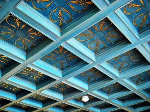 Incredible blue gold hand painted coffered ceiling by for Coffered ceiling paint ideas
