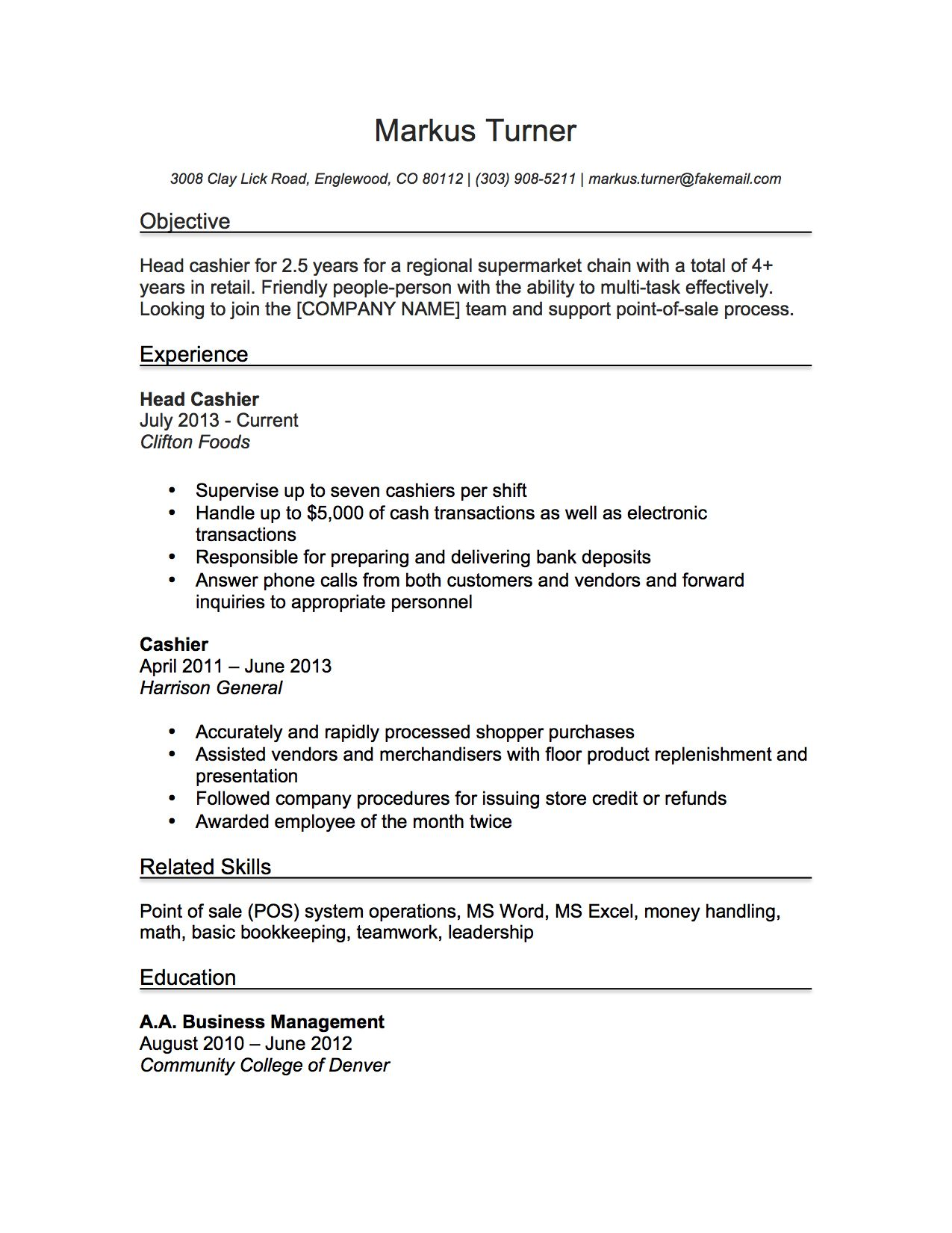 Cashier Resume Examples Cashier Resume Sample  Resume Samples  Pinterest  Writing Guide