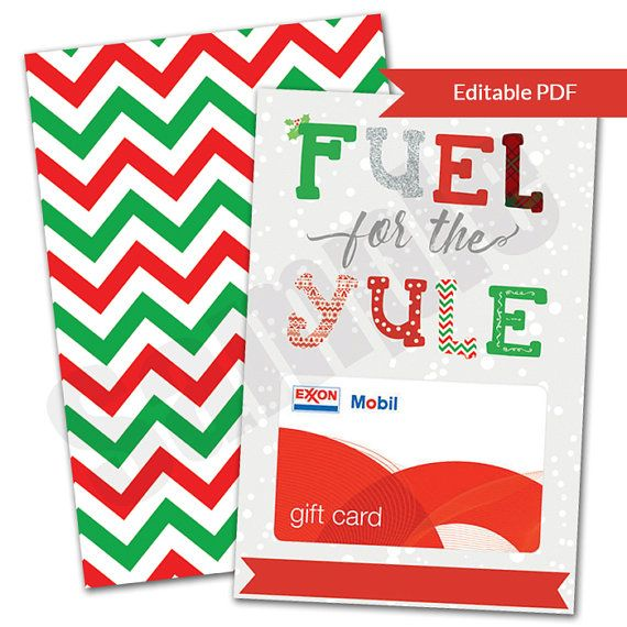 Fuel For The Yule Christmas Gas Gift Card Holder Editable Pdf Etsy Gas Gift Cards Gift Card Holder Gift Card Presentation