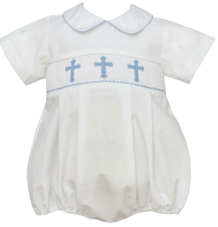 White Bubble with Collar and Smocking of Blue Crosses for Baby and Toddler Boys. Great Outfit for Church, Easter, Baptism, or Dedication. Made by Petit Bebe. #baby #boys #Christening #Baptism #Dedication