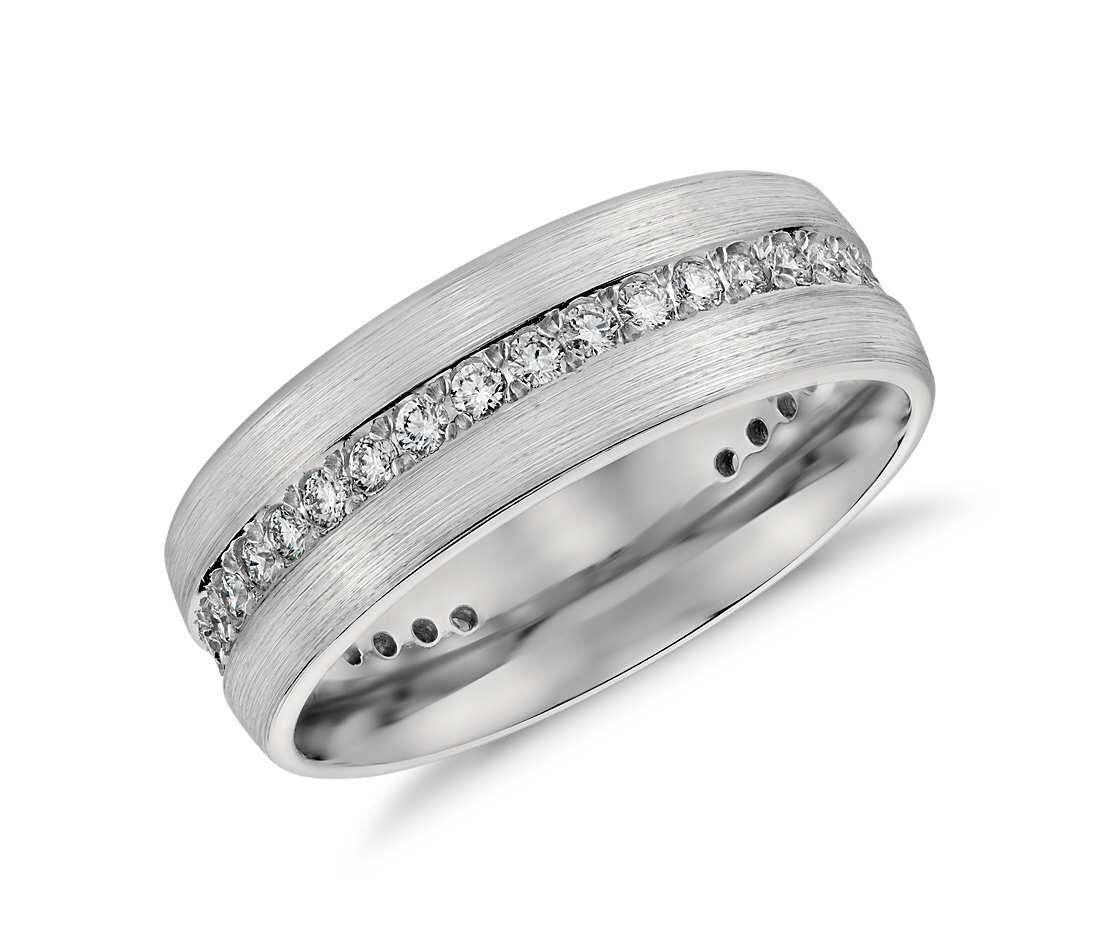 Brushed diamond eternity mens ring in platinum 7mm