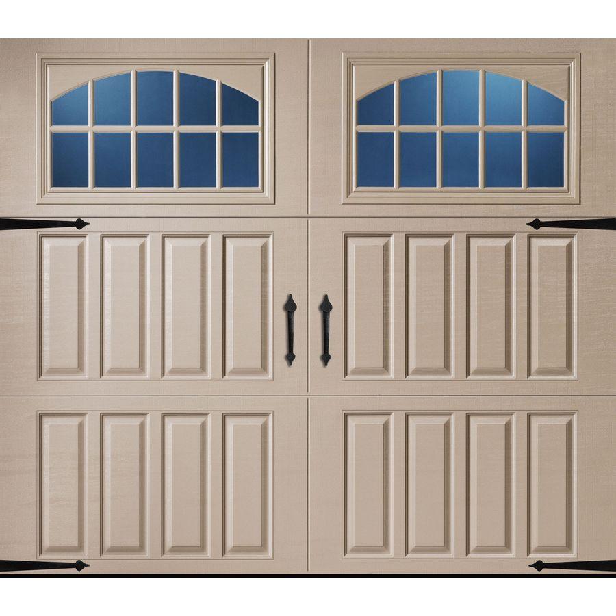Pella Carriage House 108 In X 84 In Insulated Sandtone Single Garage Door With Windows Garage Door House Garage Door Styles Carriage House Garage Doors