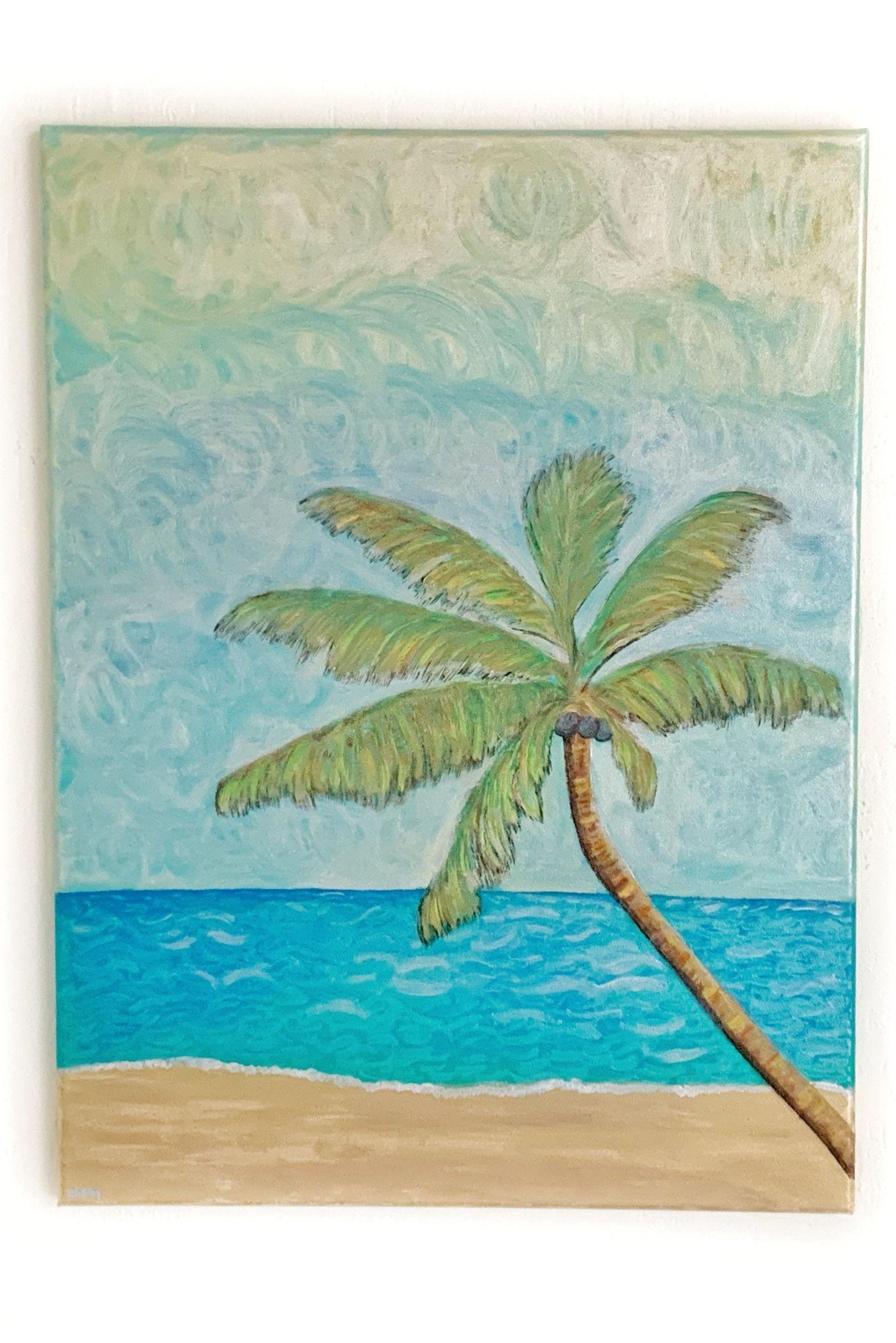 Maui Tropical Beach Wall Art Maui Original Acrylic Painting On Canvas Tropical Decor 24 X18 Canvas Art In 2020 Beach Wall Art Acrylic Painting Canvas Canvas Painting