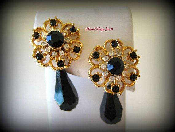 Elegant Gold Black Tear Teardrop Filigree Pearl Dangle Drop Earrings
