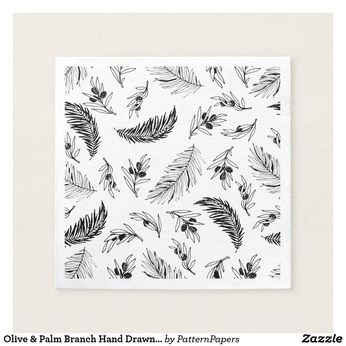 Olive Palm Branch Hand Drawn Pattern Napkin Patterned Napkins Hand Drawn Pattern Christmas Paper Napkins