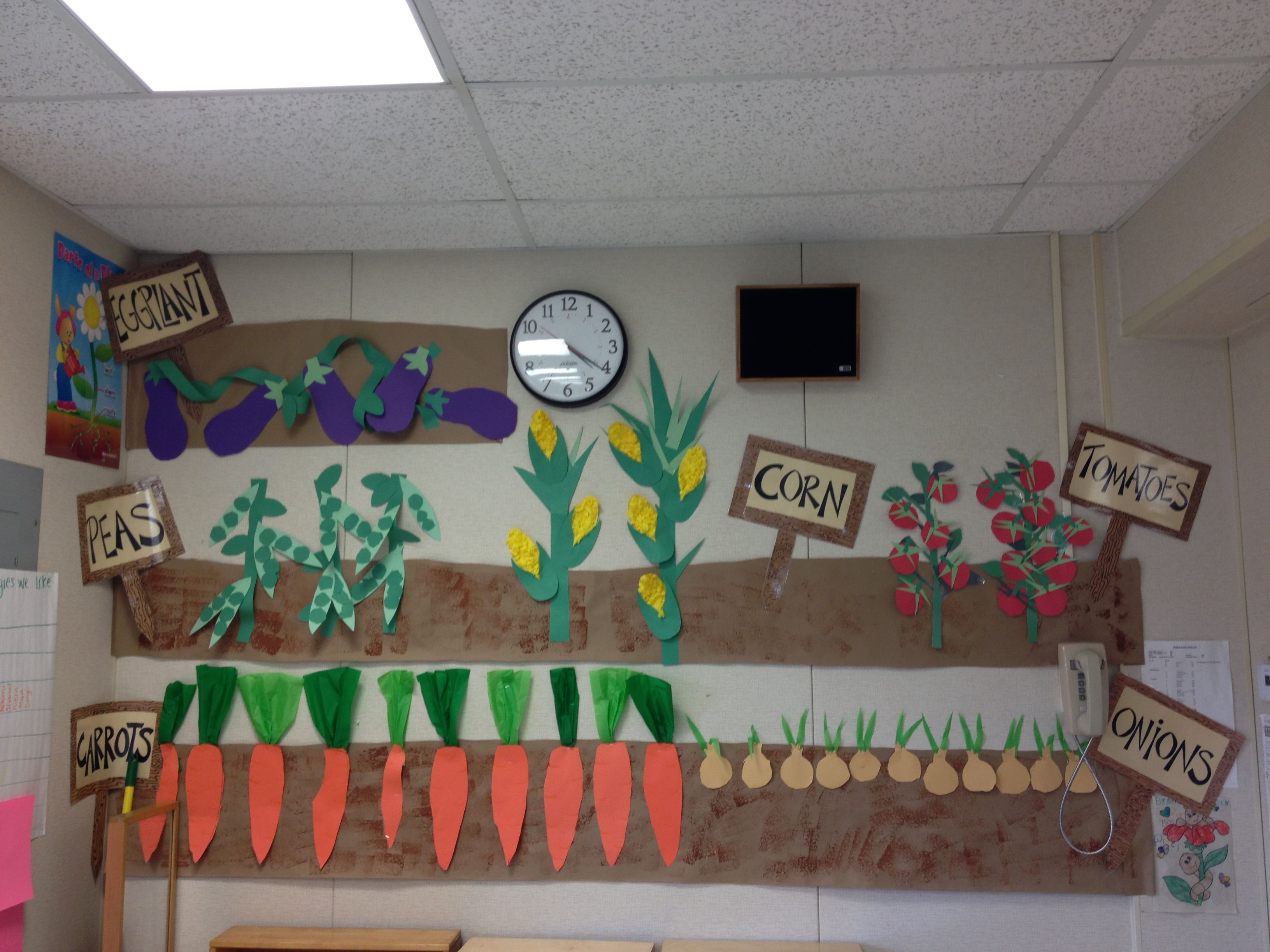 Vegetable garden unit prek preschool ideas pinterest for Preschool wall art ideas