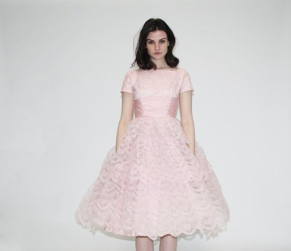 Vintage 1950s Prom Dress - 50s pastel pink lace party dress- The ...