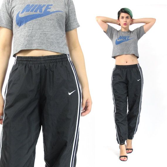 90s Nike Track Pants Sporty Black White Normcore by honeymoonmuse ... fa96815b5