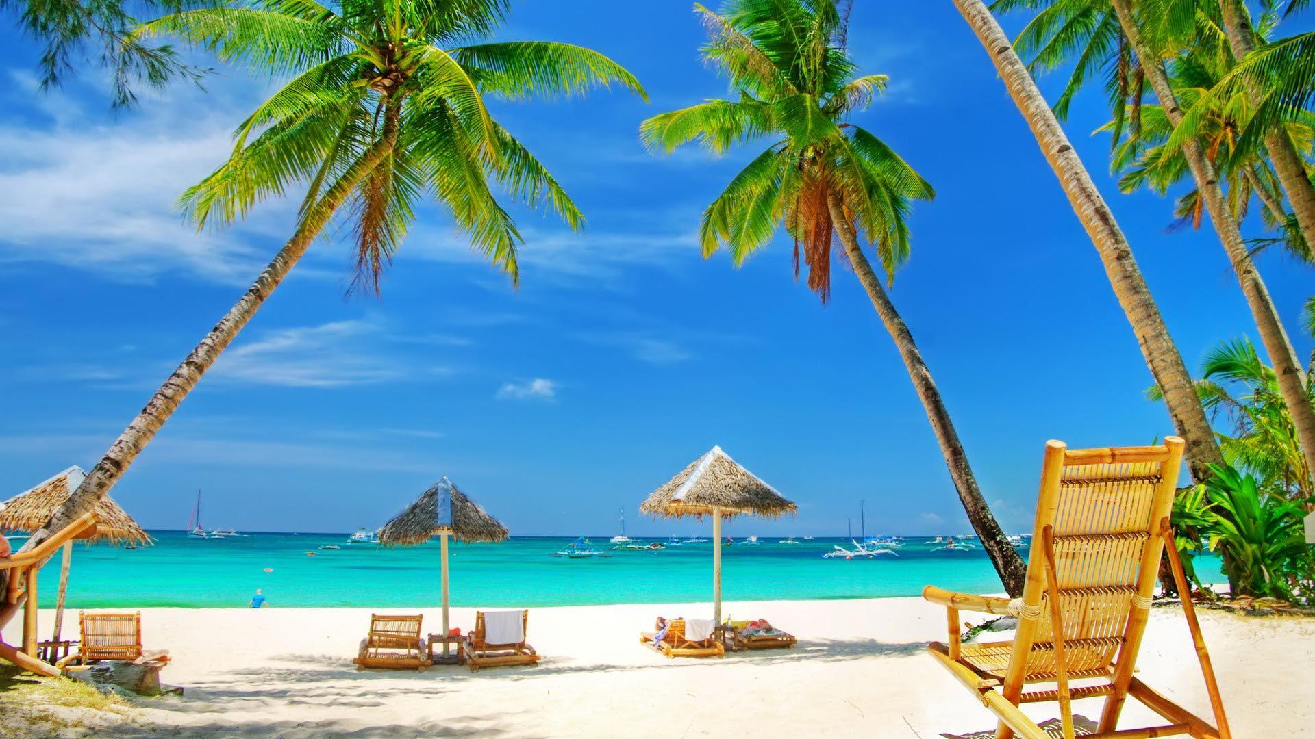 1920x1080 Beach Sea Blue Sky Summer HD Wallpapers 1080p | Beach HD Wallpapers in 2019 | Beach ...