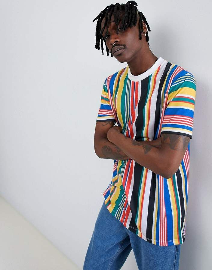 8279b00c Asos DESIGN relaxed longline t-shirt with rainbow vertical stripe