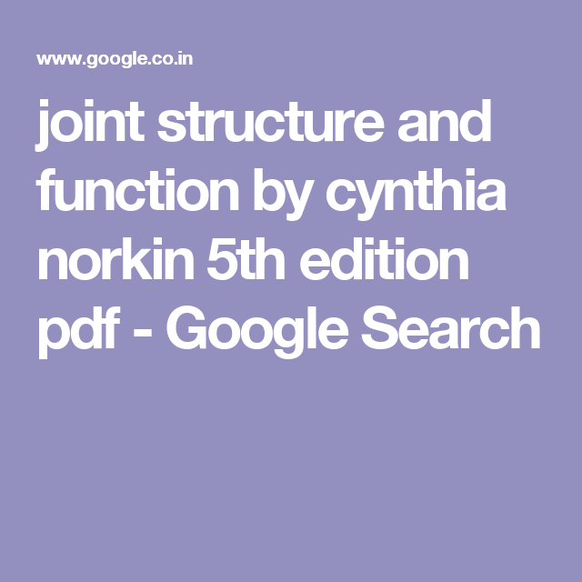 Structure function 5th and edition pdf joint