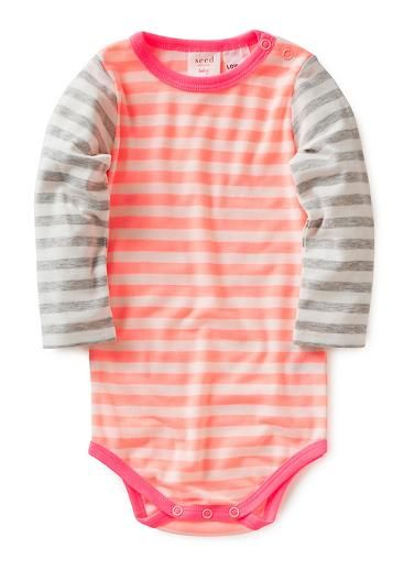 4c4444f59 80% polyester 20% cotton long sleeve bodysuit with all over yarn dye stripe.  Snap closure at side neck and crotch