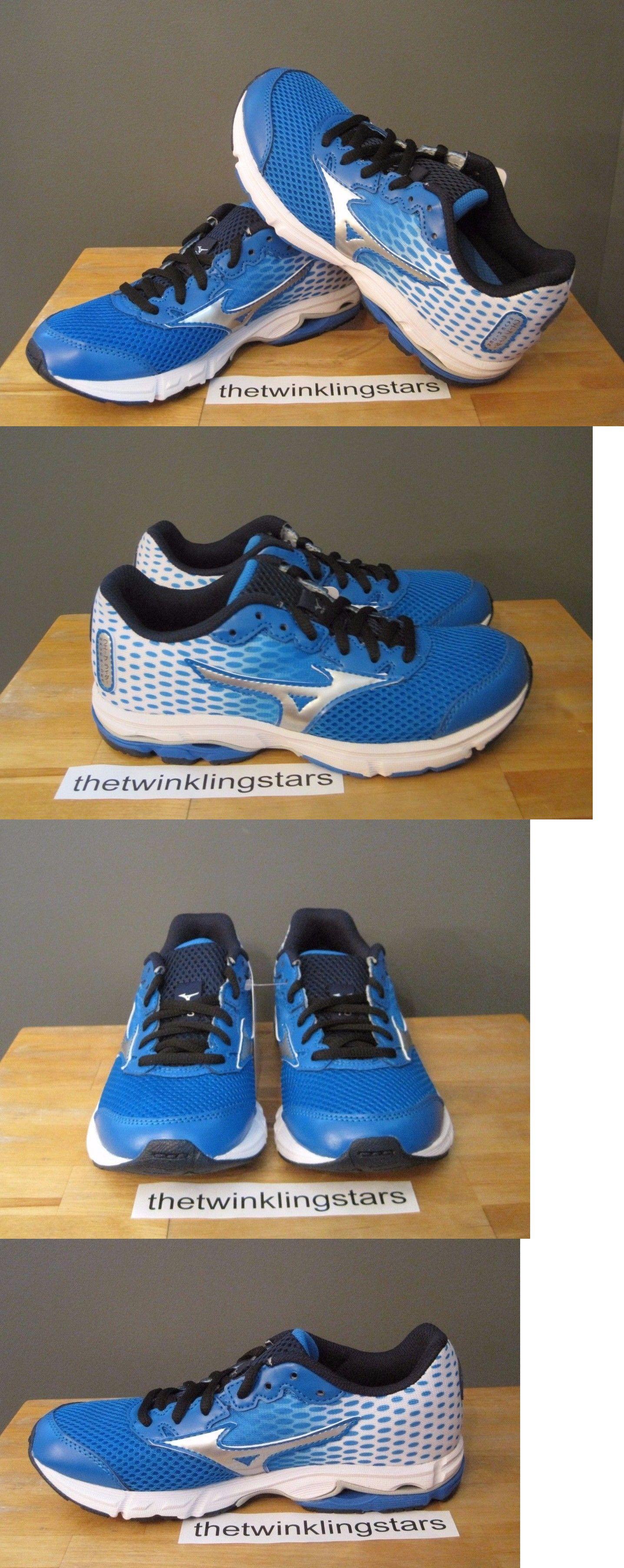 Youth 158954  Mizuno Kids Boys Blue White Wave Rider 18 Jr Running Sneakers  Us 3.5 4b232752c