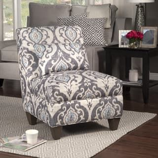 Homepop Blue Slate Large Accent Chair Cream Accent Chair