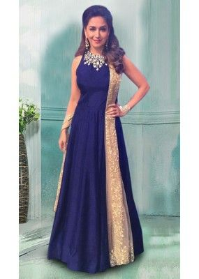 Bollywood Replica Madhuri Dixit In Blue Gown 70779 Gowns Indian Gowns Dresses