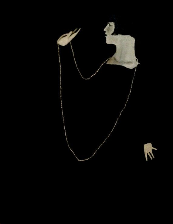 Woman with string of pearls vintage 1920s flapper by TheArtwerks, $189.99