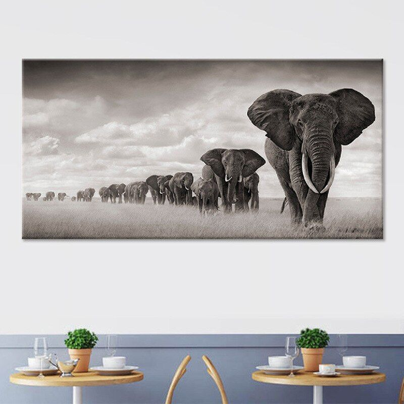 Hot African Elephant Wild Animal Decorative Painting Home Decoration Canvas Printings Unframed Wall Pi Canvas Art Wall Decor Wall Art Pictures Animal Wall Art
