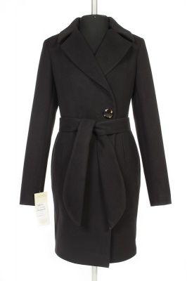 01-3781 Пальто женское демисезонное (пояс) Кашемир Черный