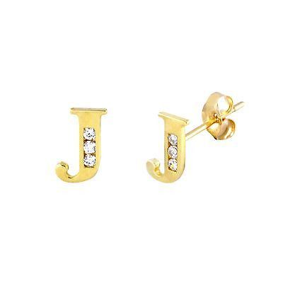 10k Gold Initial Earrings Letter J Cubic Zirconia Studs 7mm From Jewelryland