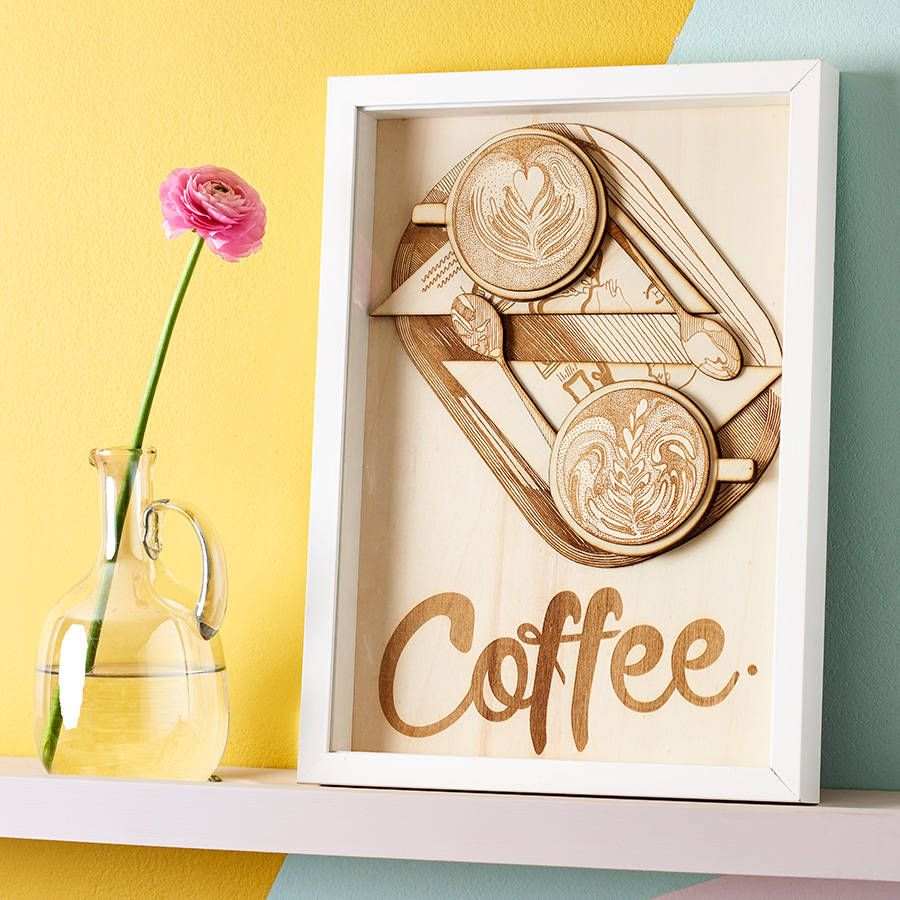 Coffee\' Laser Cut Wooden Wall Art | Hand drawn typography, Wooden ...