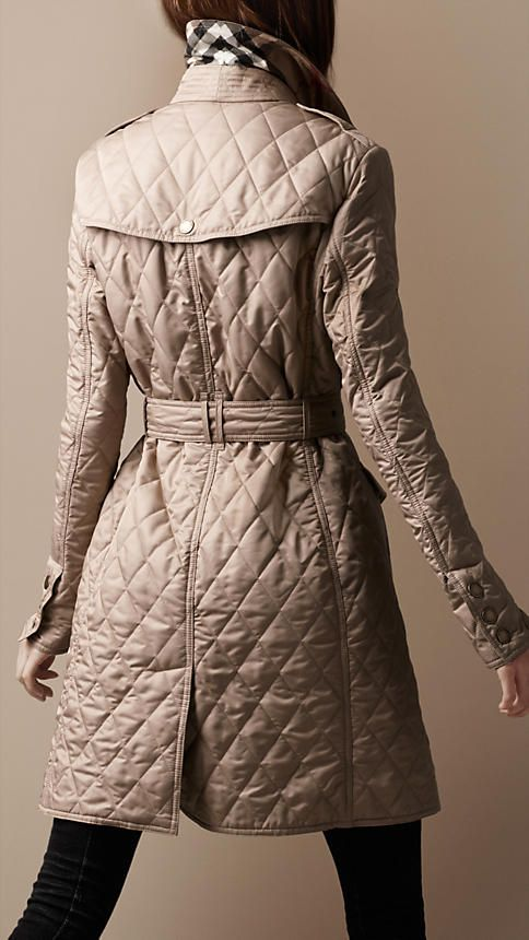 Burberry Iconic British Luxury Brand Est 1856 Urban Chic Fashion Quilted Coat Outfit Long Quilted Coat