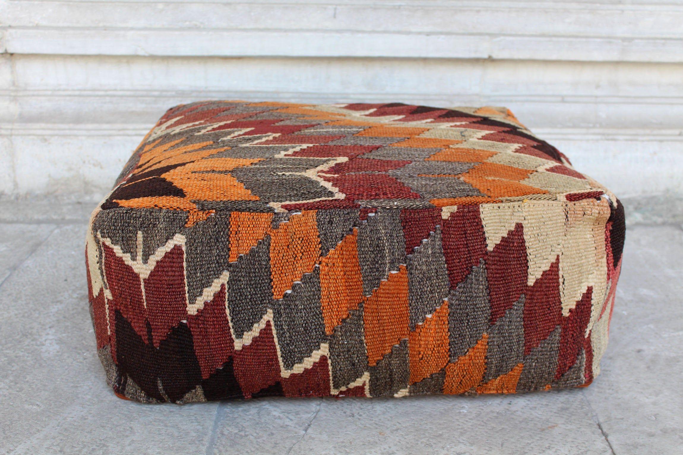Vintage Boho Kilim Rug Upholstered Benches Stools Ottomans A Pair