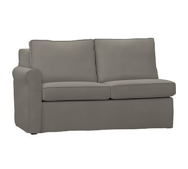 Cameron Roll Arm Slipcovered Left Arm Love Seat, Polyester Wrapped Cushions, Washed Linen/Cotton Metal Gray
