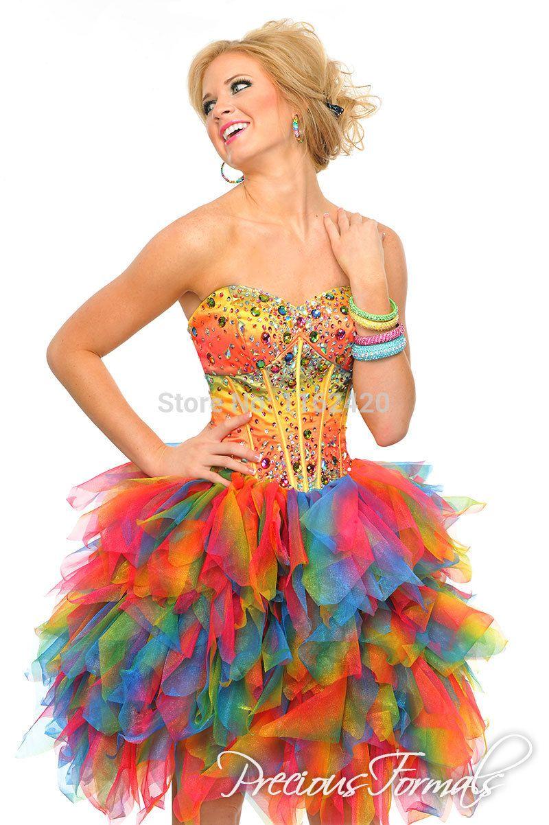 Rainbow Puffy Dresses | kids dresses | Pinterest