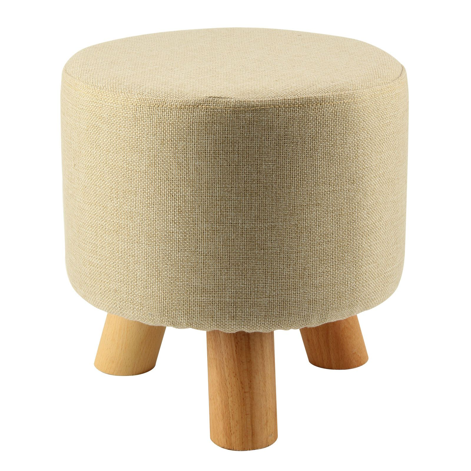 Modern Luxury Upholstered Footstool Round Pouffe Stool + Wooden ...