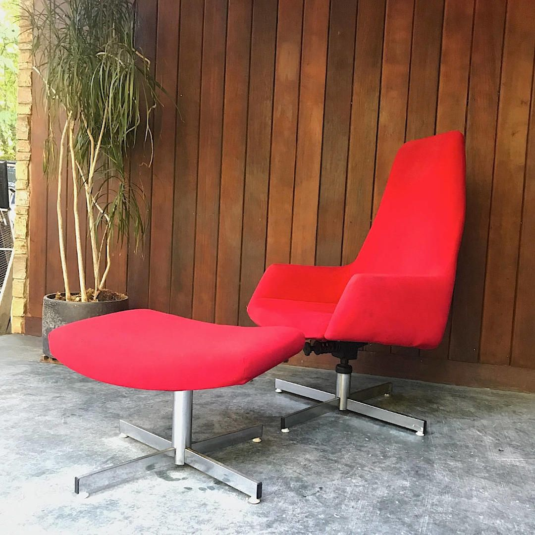 Vintage Red Chrome Lounge Chair Ottoman Mid-Century TLC Project by ...