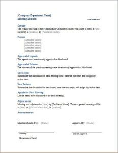 Meeting Minutes Template Download At HttpWwwBizworksheetsCom