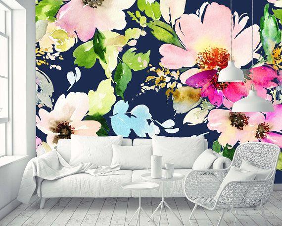 Removable Wallpaper Mural Peel Stick Blossoms Watercolor Etsy Watercolor Mural Mural Wallpaper Removable Wallpaper