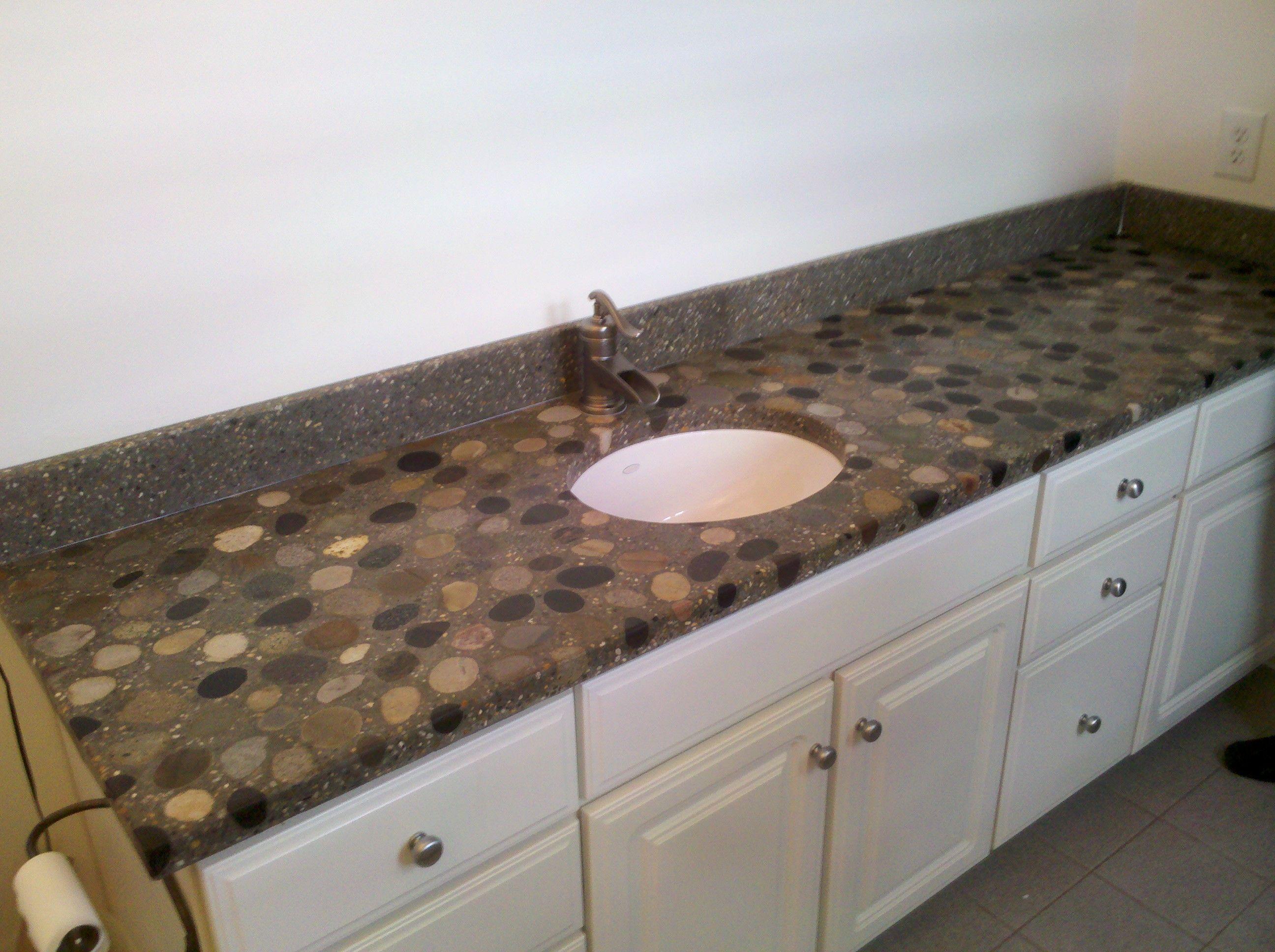 River Rock Countertops | River Rock Vanity   Concrete Countertop Forums  Love This!